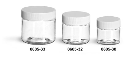 Plastic Jars, Clear PET Jars w/ White Ribbed Lined Caps