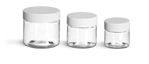 PET Plastic Jars, Clear Straight Sided Jars w/ White Ribbed Lined Caps