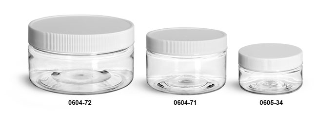 Plastic Jars, Clear PET Heavy Wall Jars w/ White Ribbed Lined Caps