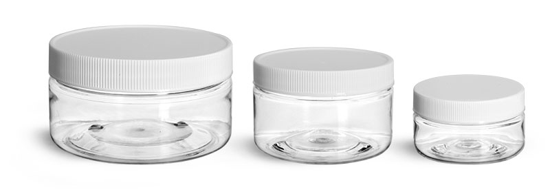 PET Plastic Jars, Clear Heavy Wall Jars w/ White Ribbed Lined Caps