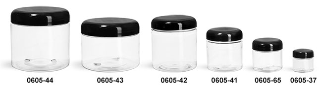 Plastic Jars, Clear PET Straight Sided Jars w/ Black Smooth Lined Plastic Dome Caps