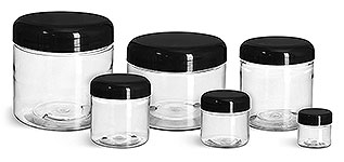 PET Plastic Jars, Clear Straight Sided Jars w/ Black Smooth Lined Plastic Dome Caps