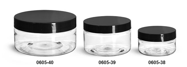 Plastic Jars, Clear PET Heavy Wall Jars w/ Black Smooth Plastic Lined Caps