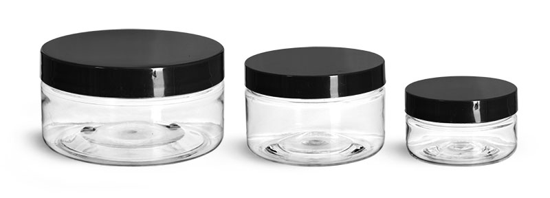 PET Plastic Jars, Clear Heavy Wall Jars w/ Black Smooth Plastic Lined Caps