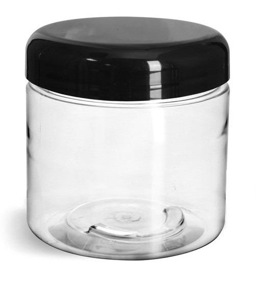 16 oz Clear PET Straight Sided Jars w/ Black Smooth Lined Plastic Dome Caps