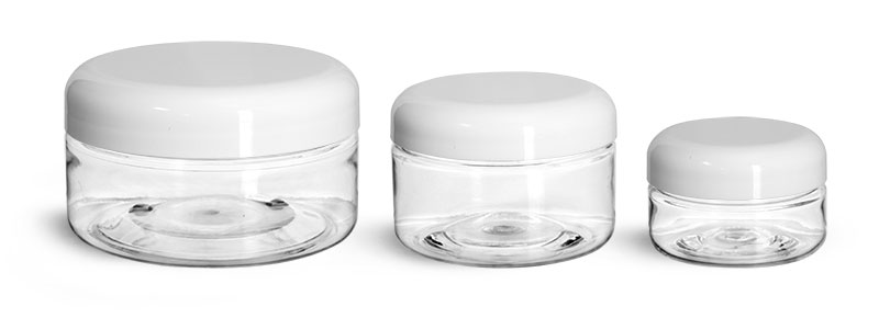 PET Plastic Jars, Clear Heavy Wall Jars w/ Lined White Plastic Dome Caps