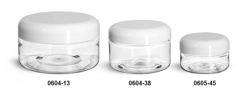 Plastic Jars, Clear PET Heavy Wall Jars w/ Lined White Plastic Dome Caps
