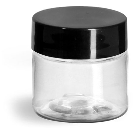 1/2 oz Clear PET Straight Sided Jars w/ Black Smooth Plastic Lined Caps