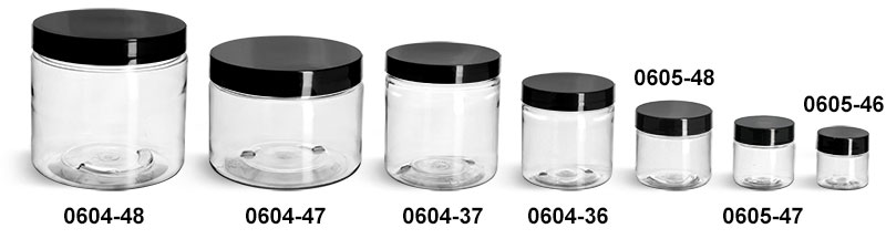 Plastic Jars, Clear PET Straight Sided Jars w/ Black Smooth Plastic Lined Caps