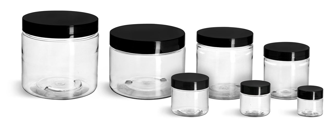 PET Plastic Jars, Clear Straight Sided Jars w/ Black Smooth Plastic Lined Caps