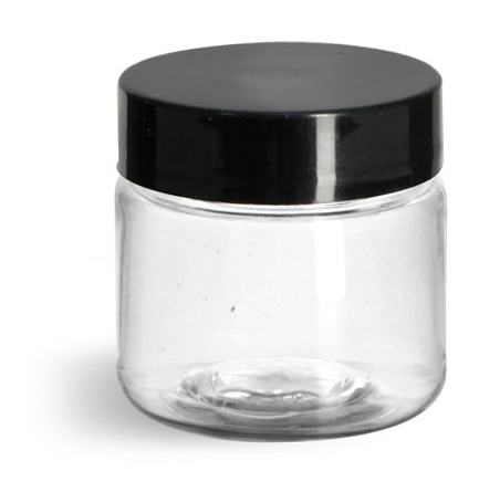 1 oz Clear PET Straight Sided Jars w/ Black Smooth Plastic Lined Caps