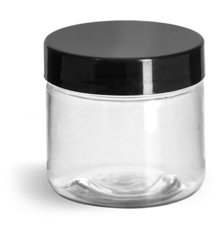 2 oz Clear PET Straight Sided Jars w/ Black Smooth Plastic Lined Caps