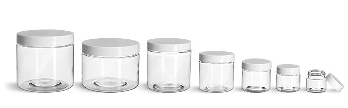 PET Plastic Jars, Clear Straight Sided Jars w/ White Smooth Plastic Lined Caps