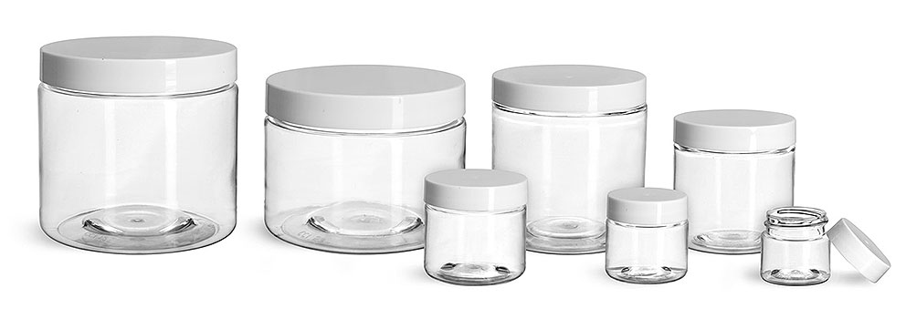 Plastic Jars, Clear PET Straight Sided Jars w/ White Smooth Plastic Lined Caps