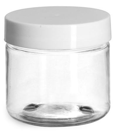 2 oz Clear PET Straight Sided Jars w/ White Smooth Plastic Lined Caps
