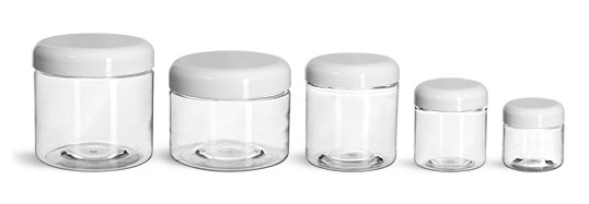 PET Plastic Jars, Clear Straight Sided Jars w/ White Lined Dome Caps