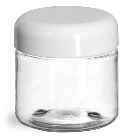 2 oz Plastic Jars, Clear PET Straight Sided Jars w/ White Lined Dome Caps