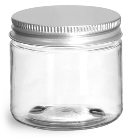 2 oz Clear PET Straight Sided Jars w/ Lined Aluminum Caps