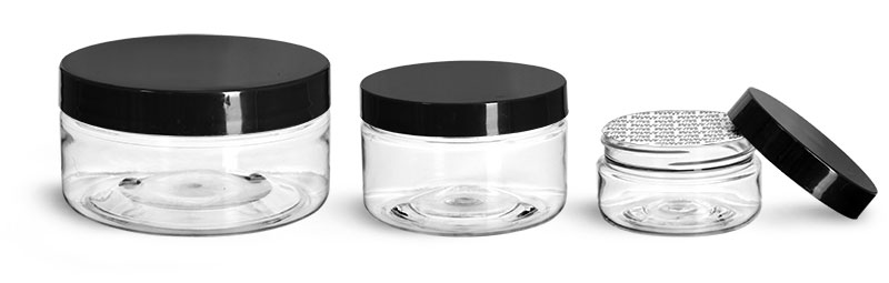 PET Plastic Jars, Clear Heavy Wall Jars w/ Black Smooth Lined Caps