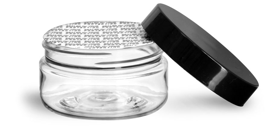 2 oz Clear PET Heavy Wall Jars w/ Black Smooth Lined Caps