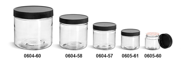 Plastic Jars, Clear PET Straight Sided Jars w/ Black Ribbed Induction Lined Caps