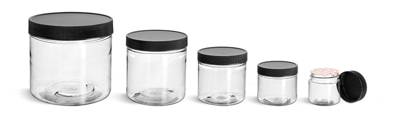 PET Plastic Jars, Clear Straight Sided Jars w/ Black Ribbed Induction Lined Caps'