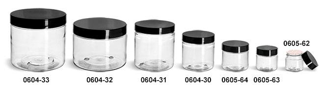 Plastic Jars, Clear PET Straight Sided Jars w/ Black Smooth Plastic Lined Caps
