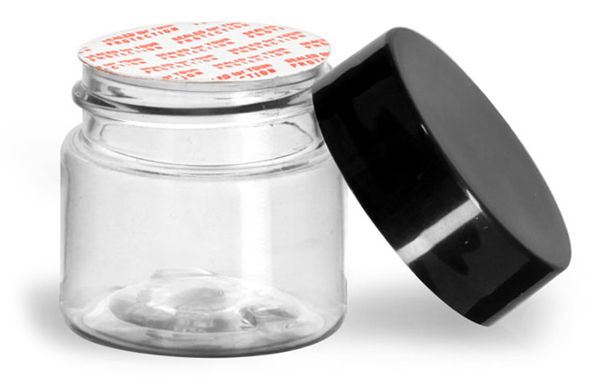 1/2 oz Clear PET Jars w/ Black Smooth Plastic Lined Caps