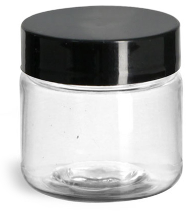 1 oz Clear PET Jars w/ Black Smooth Plastic Lined Caps