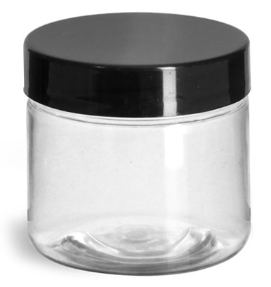 2 oz Clear PET Jars w/ Black Smooth Plastic Lined Caps