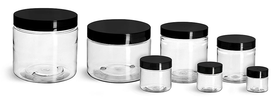 Plastic Jars, Clear PET Straight Sided Jars w/ Black Smooth Induction Lined Caps