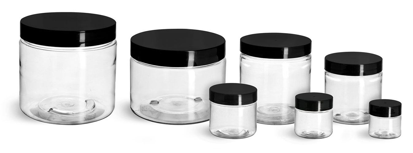 PET Plastic Jars, Clear Straight Sided Jars w/ Black Smooth Induction Lined Caps