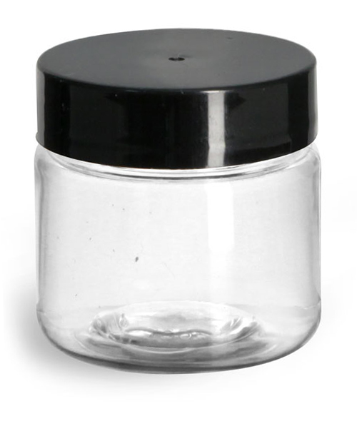 1 oz Plastic Jars, Clear PET Straight Sided Jars w/ Black Smooth Induction Lined Caps