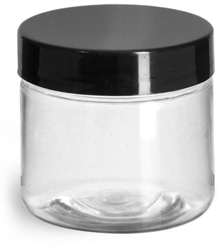 2 oz Plastic Jars, Clear PET Straight Sided Jars w/ Black Smooth Induction Lined Caps