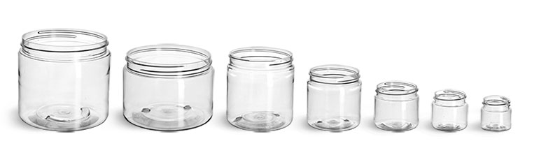 Clear PET Straight Sided Jars (Bulk), Caps Not Included