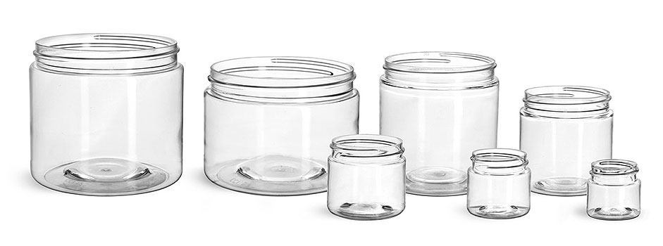 Plastic Jars, Clear PET Straight Sided Jars (Bulk) Caps Not Included