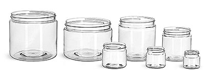 16 oz Clear PET Straight Sided Jars (Bulk), Caps Not Included