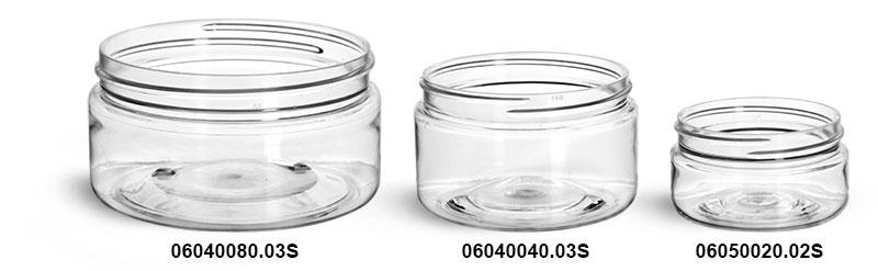 Plastic Jars, Clear PET Heavy Wall Jars (Bulk) Caps Not Included