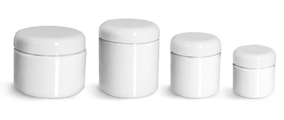 PET Plastic Jars, White Straight Sided Jars w/ White Lined Dome Caps