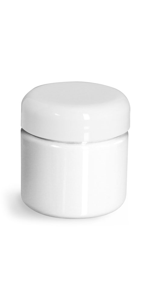 2 oz Plastic Jars, White PET Straight Sided Jars w/ White Lined Dome Caps