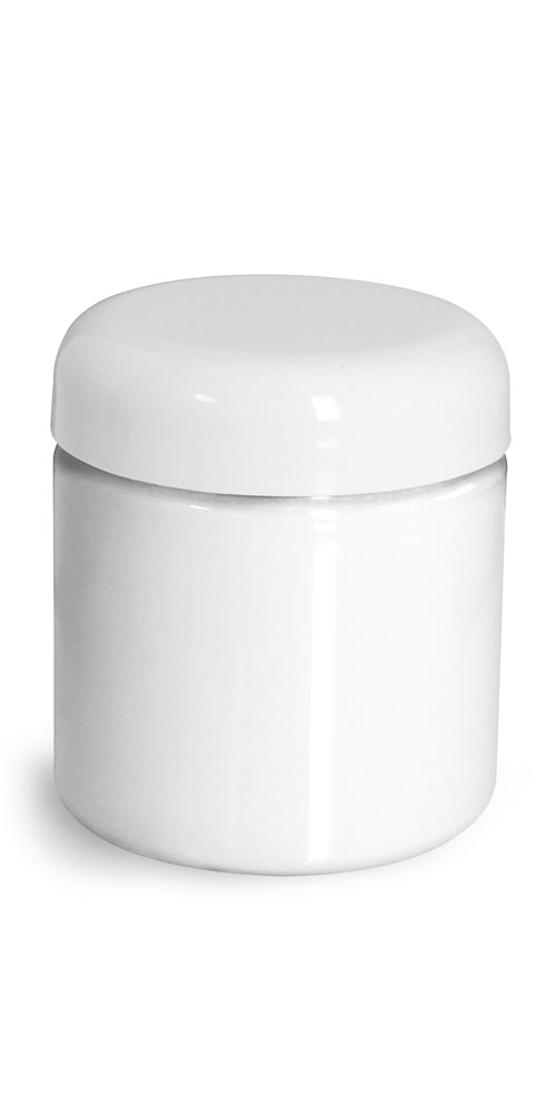 4 oz Plastic Jars, White PET Straight Sided Jars w/ White Lined Dome Caps