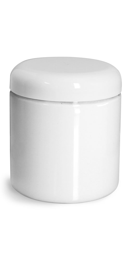 Plastic Jars, White PET Straight Sided Jars w/ White Lined Dome Caps