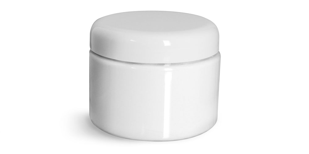12 oz Plastic Jars, White PET Straight Sided Jars w/ White Lined Dome Caps