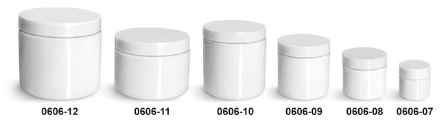 Plastic Jars, White PET Straight Sided Jars w/ White Smooth Plastic Lined Caps