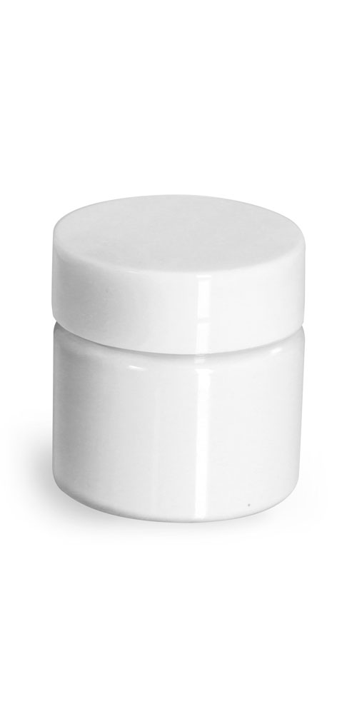 1/2 oz Plastic Jars, White PET Straight Sided Jars w/ White Smooth Plastic Lined Caps