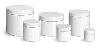 PET Plastic Jars, White Straight Sided Jars w/ White Smooth Plastic Lined Caps