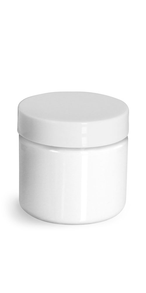 2 oz Plastic Jars, White PET Straight Sided Jars w/ White Smooth Plastic Lined Caps