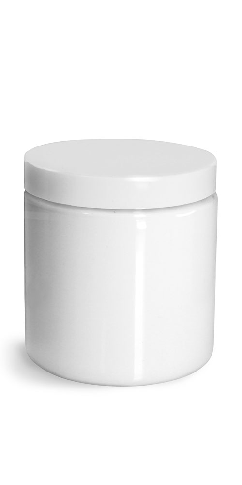 8 oz Plastic Jars, White PET Straight Sided Jars w/ White Smooth Plastic Lined Caps