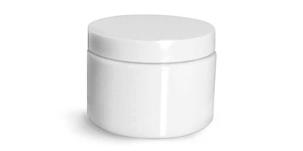 12 oz Plastic Jars, White PET Straight Sided Jars w/ White Smooth Plastic Lined Caps