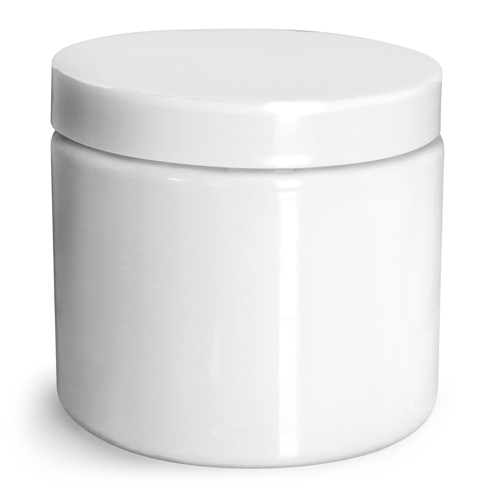 16 oz Plastic Jars, White PET Straight Sided Jars w/ White Smooth Plastic Lined Caps